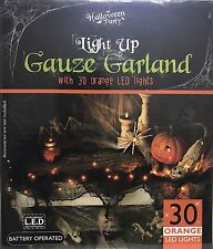NEW HALLOWEEN PARTY LIGHT UP GAUZE GARLAND WITH 30 LED ORANGE LIGHT