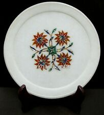 08 Inch Marble Inlay Decorative Plate Unique Flower Design Corporate Gift Plate