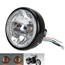 "For Harley Cafe Racer 7"" Motorcycle Headlight Amber Turn Signal LED Indicators"
