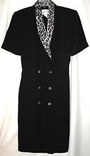 Vintage Dress Leopard Print Trim Size 8 Short Sleeve Black Danny & Nicole NY