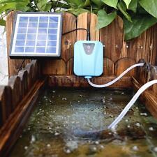 2L/min Solar Powered Air Pump Fish Pond Oxygen 1 Air Stone Aerator USB 5V J3D8