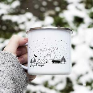 Camping Enamel Mug Keep it Simple Motorhome Camper Outdoors Adventure Gift