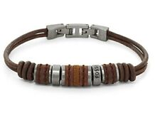 JF00900797 Genuine Fossil Brown leather cords with stainless steel beads £39