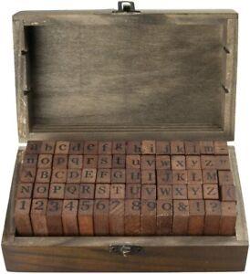 70- tlg Vintage Stempel Set, Holz, Buchstaben / Alphabet groß + klein, Zahlen