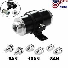 Black 30 Micron Inline Fuel/Petrol Filter&Bracket Billet Aluminum An6/An8/An10