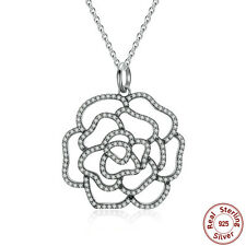 Shimmering Crystal Rose Pendant Necklace Female Fine Jewelry 925 Sterling Silver