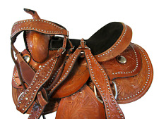 """14"""" 15"""" 16"""" TRAIL TOOLED LEATHER HORSE SADDLE WESTERN FLORAL BARREL RACING"""