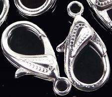 30x16mm X-Large Plated Silver Pewter Lobster Claw Clasps (5) ~ Lead-Free
