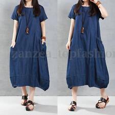 ZANZEA Women's Short Sleeve Loose Casual Solid Denim Blue Long Shirt Dress Plus