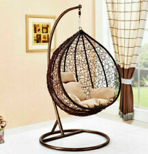 Hanging Rattan Swing Patio Garden Chair Weave Egg w/ Cushion In Outdoor