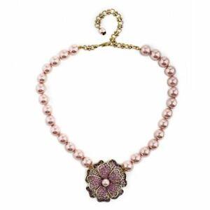 "Heidi Daus Pink ""Dazzling Dogwood Flower"" Beaded Crystal Necklace NWT"
