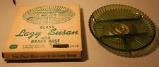 Vintage Indiana Glass and Brass Olive Green 2 Piece Lazy Susan 2835 NIB