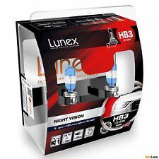2x HB3 Lunex NIGHT VISION 3600K 65W 12V Lampadine Faro Alogene P20d Hard Case