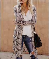 Women's Leopard Kimono Tops Blouse Coat Jacket Ladies Loose Long Sleeve Cardigan