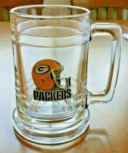 Green Bay Packers Glass  Mug - NFL Pewter Logo Beer Stein - NFL Team Mug 3D Logo