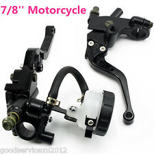 "Black 7/8"" Motorcycles Front Brake Master Cylinder Clutch Fluid Reservoir Levers (Fits: Boss Hoss)"