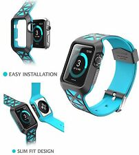 For APPLE Watch Case Cover 38 mm Series 2 3 Bands Shell Bumper Strap Black Blue
