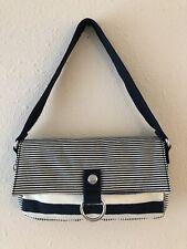 KIPLING Nylon Blue White Striped TERNI Small Clutch Handbag Shoulder Bag Purse