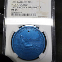 1933 HK-687 MS65 Blue Anodized CA Santa Monica So Called Dollar SC $1, NGC