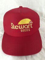 Vintage Stewart Seeds Hat Red Adjustable Seed Farmer K-Products Snapback Cap
