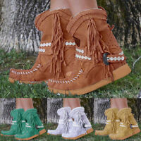 Outdoor Middle Hidden Wedge Womens Dressy Tasseled Mid Calf Boots Trendy Round Toe Pull On