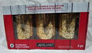 "Set of (3) Ashland Flameless LED Pillar Christmas Candles-Gold Splatter-4"" & 6"""