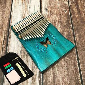17Keys Acoustic Butterfly Kalimba Thumb Piano Mbira Solid Wood Blue Set Gift