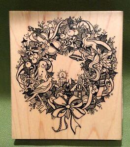 Beautiful Inkadinkado Busy Wreath Rubber Stamp Brand New