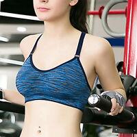 Women Workout Stretch Tank Top Seamless Racerback Fitness Yoga Padded Sports Bra