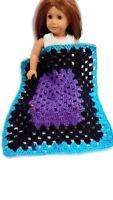 "Crocheted Blanket fits 18"" American Girl Doll & 17"" X 14"" Purple Black Teal"