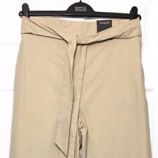 M&S Marks £45 12S Autograph Luxe Camel Cotton Tie Waist Wide Leg Trousers BNWT