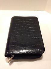 MUNDI Zippered 2 Compartment Black Crocodile Faux Leather Planner Organizer