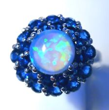 **UK**GORGEOUS BLUE FIRE OPAL SAPPHIRE RING  UK SIZE  N  /   US SIZE  7