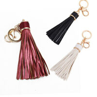 Womens Long Leather Tassel Key Chain Charm Pendant Bag Purse Handbag K