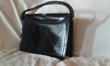 1970s+ Ackery black patent leather women hand bag suede-interior good condition