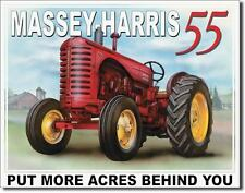 Vintage Replica Tin Metal Sign Massey Harris 55 Tractor Used Here Equipment 1168