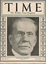 Time Magazine February 1, 1926  Victor Henry Berenger