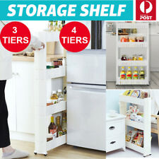 4 Tier Removable Kitchen Trolley Rack Holder Storage Shelf Organizer Wheels