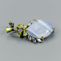 Vintage Natural Blue Opal 925 Sterling Silver Brooch /NB06932