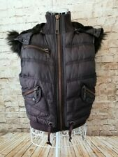 RIVER ISLAND Womens Brown Padded Hooded Gilet Sleeveless Jacket Coat Size 12