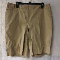 New TALBOTS Women's Walking Bermuda Shorts Size 14 Beige Tan Cotton Blend