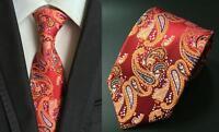 Red Blue Orange Tie Paisley Pattern Handmade 100% Silk Wedding Necktie 8cm Width