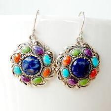 #E404 Boucles d'oreilles Argent Massif Style Amérindien Turquoise & Lapis Lazuli