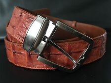 100% Genuine crocodile skin leather men tan belt 1.5 inch