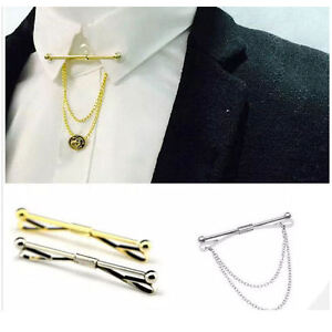 Mens Collar Bar Neck Tie Shirt Pin Tie 6 cm Chain Silver Gold Clasp Boys Gift UK