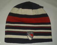 NY New York Rangers Knit Beanie Toque Winter Hat Skull Cap NHL Striped very nice