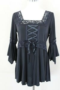Victorian Gothic Steampunk Black with Lace Blouse Shirt Theater Top Women Large