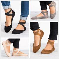 AU Womens Flats Ballet Shoes Round Toe Dance Ankle Strap Moccasin Boat Plus Size