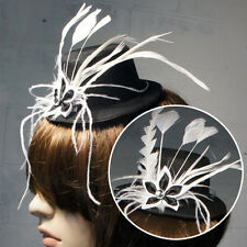 Black Gothic Victorian Steampunk Mini Top Hat White Feathers Halloween Costume