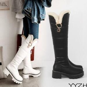 Winter Fur Lined Round Toe Warm Womens Chunky Heel Platform Snow Knee High Boots